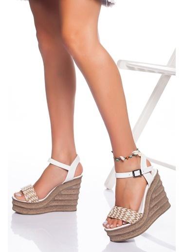 Derithy Derithy-Dolgu Topuklu Ayakkabı-Beyaz Beyaz
